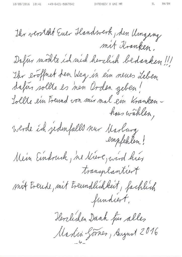 Gedicht von M. Görner, 45 J. 1 Woche nach seiner Nieren Transplantation in Marburg
