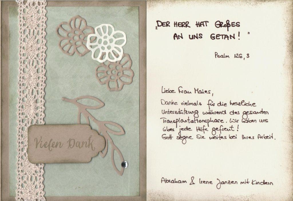 Dankeskarte von Abraham & Irene janzen